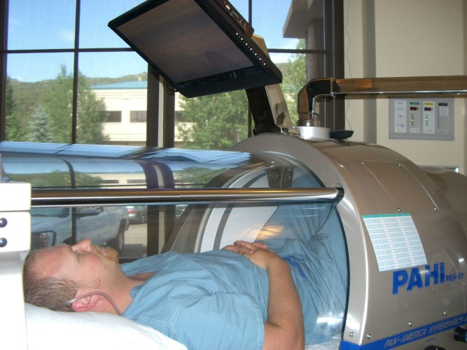 TBI patient in a hyperbaric chamber